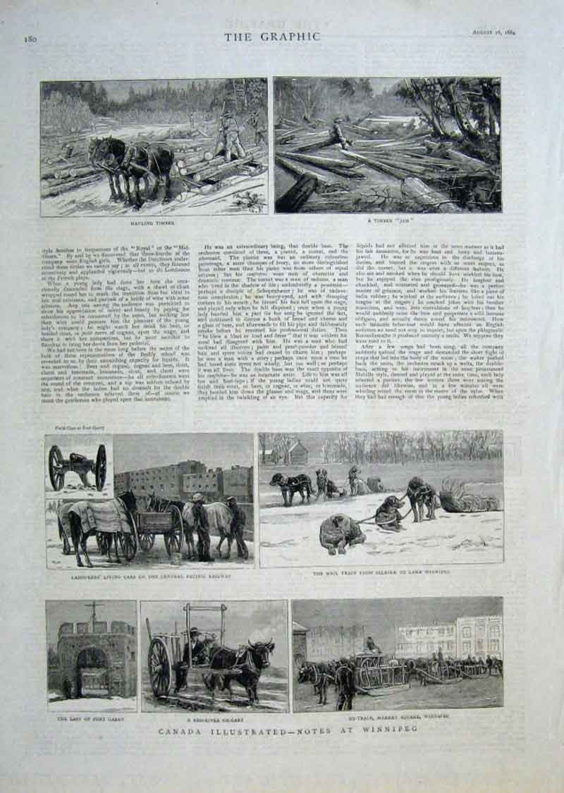 Print Canada Illustrated Note At Winnepeg 1884 80Bbb1 Old Original