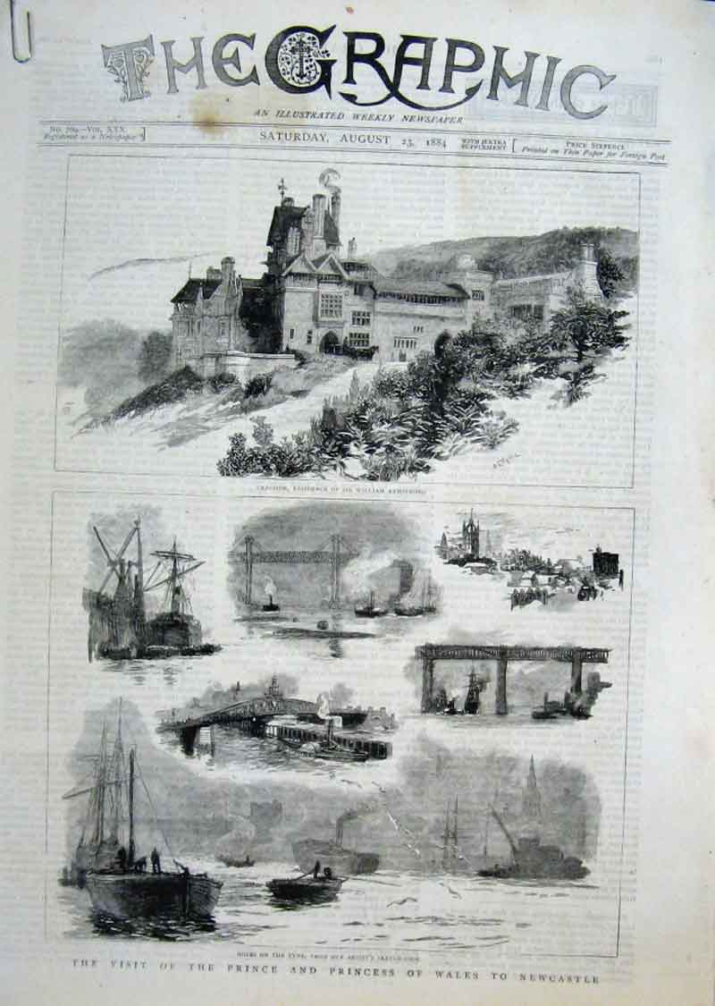 Print Visit Prince & Princess Wales To Newcastle August 1884 86Abbb1 Old Original