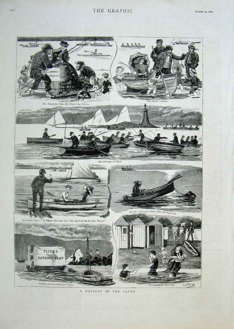 Print Holiday On The Clyde 1884 Scotland 08Bbb1 Old Original