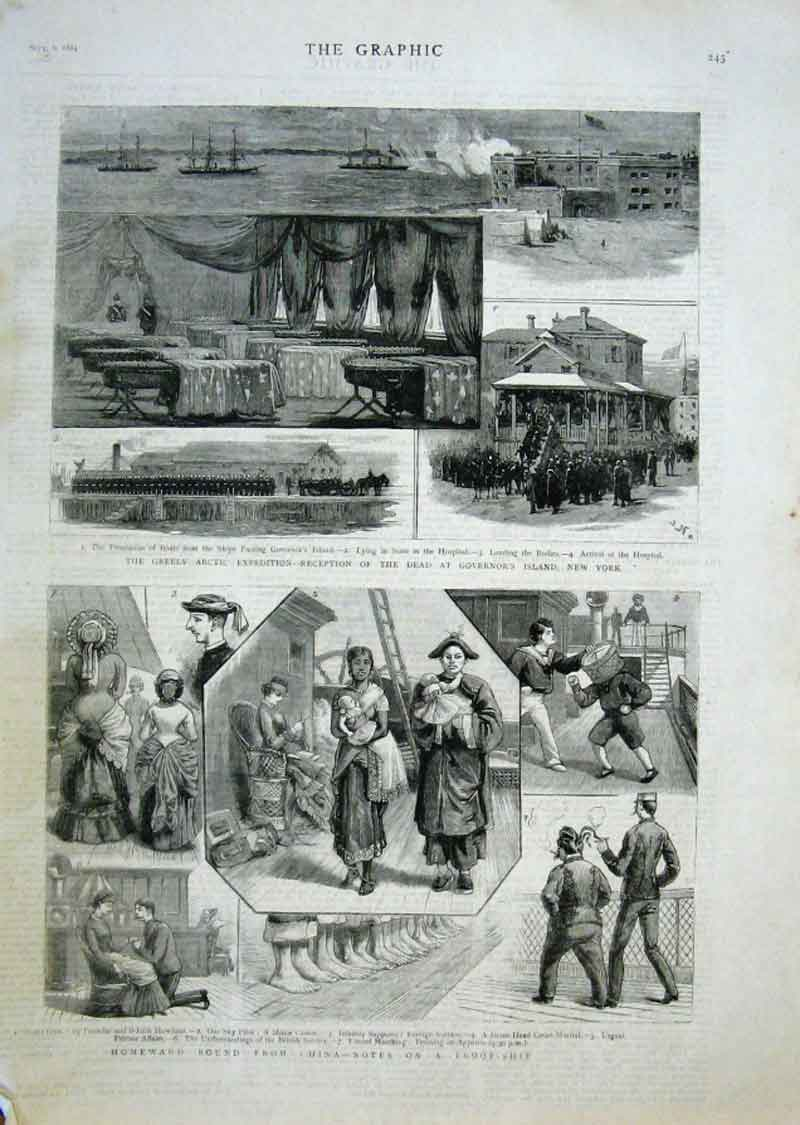 Print Dead From Greely Artic Expedition New York 1884 45Bbb1 Old Original