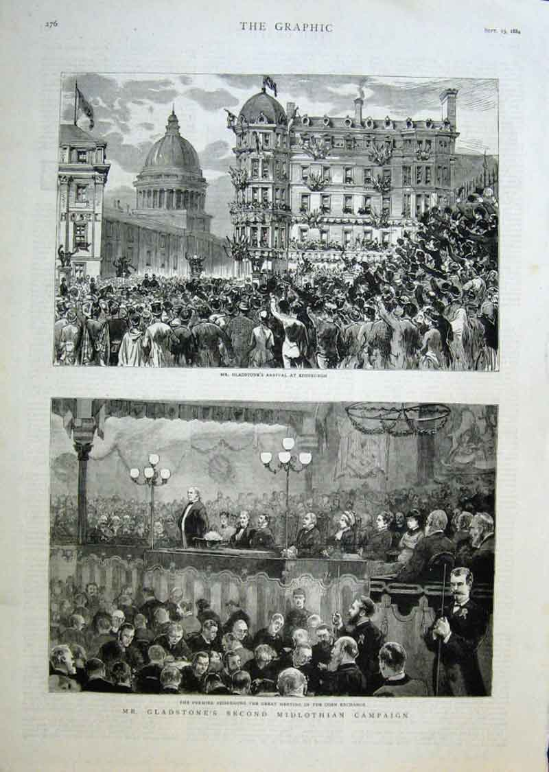 Print Gladstone Second Midlothian Campaign 1884 76Bbb1 Old Original