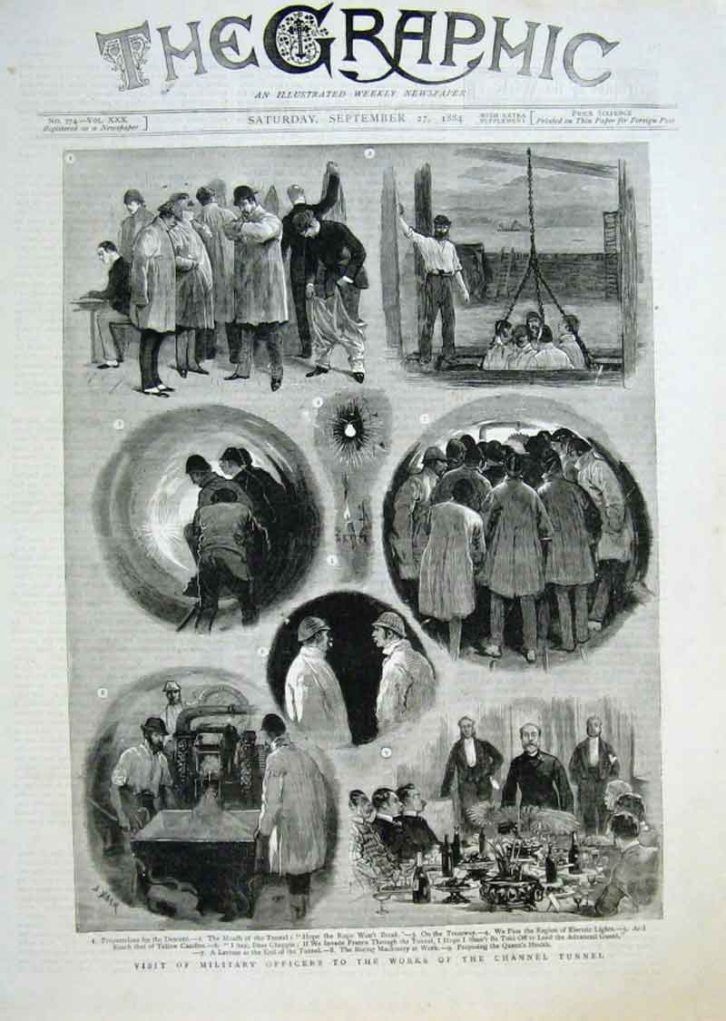 Print Military Officers Inspect Work Channel Tunnel 1884 !!!! 14Bbb1 Old Original