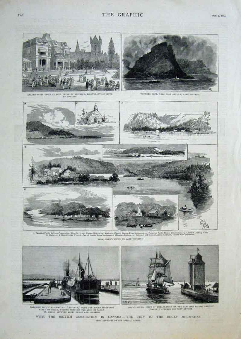 Print Trip To Rocky Mountains Canada 1884 52Bbb1 Old Original