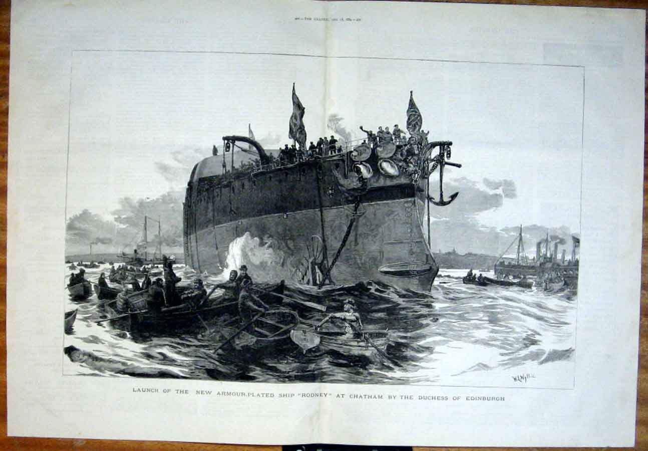 Print Launch Armoured Ship Rodney Chatham 1884 99Tbbb1 Old Original