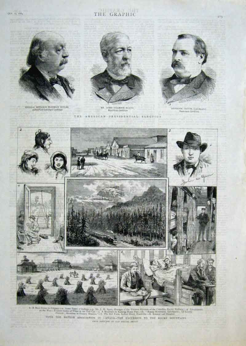Print Butler Blaine & Cleveland Usa Elections 1884 25Bbb1 Old Original