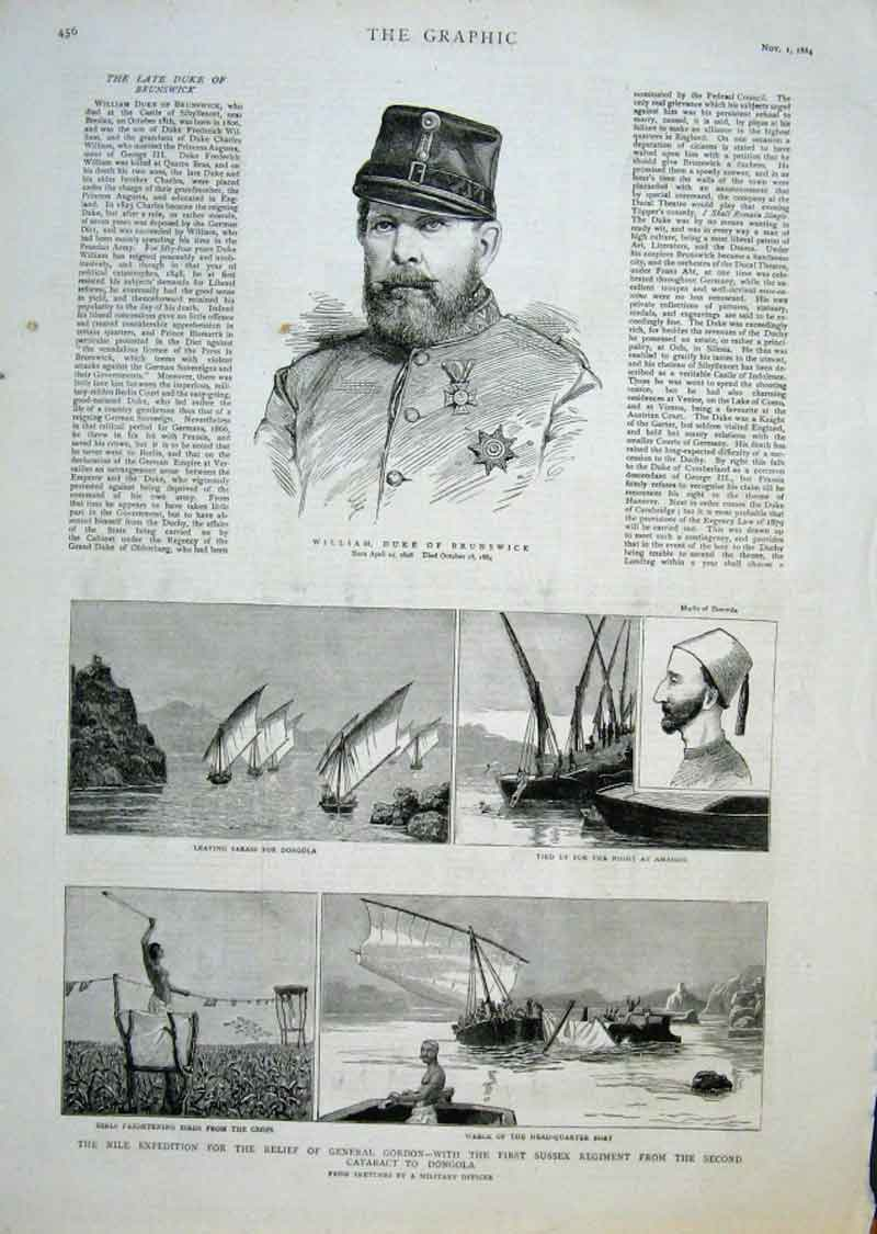 Print Duke Brunswick 1St Sussex Regiment On The Nile 1884 56Bbb1 Old Original
