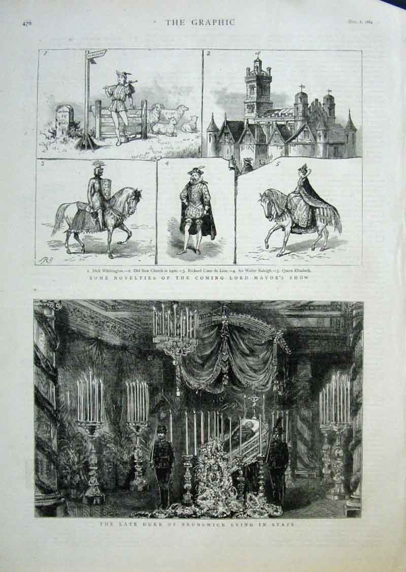 Print Duke Brunswick Lying In State 1884 76Bbb1 Old Original