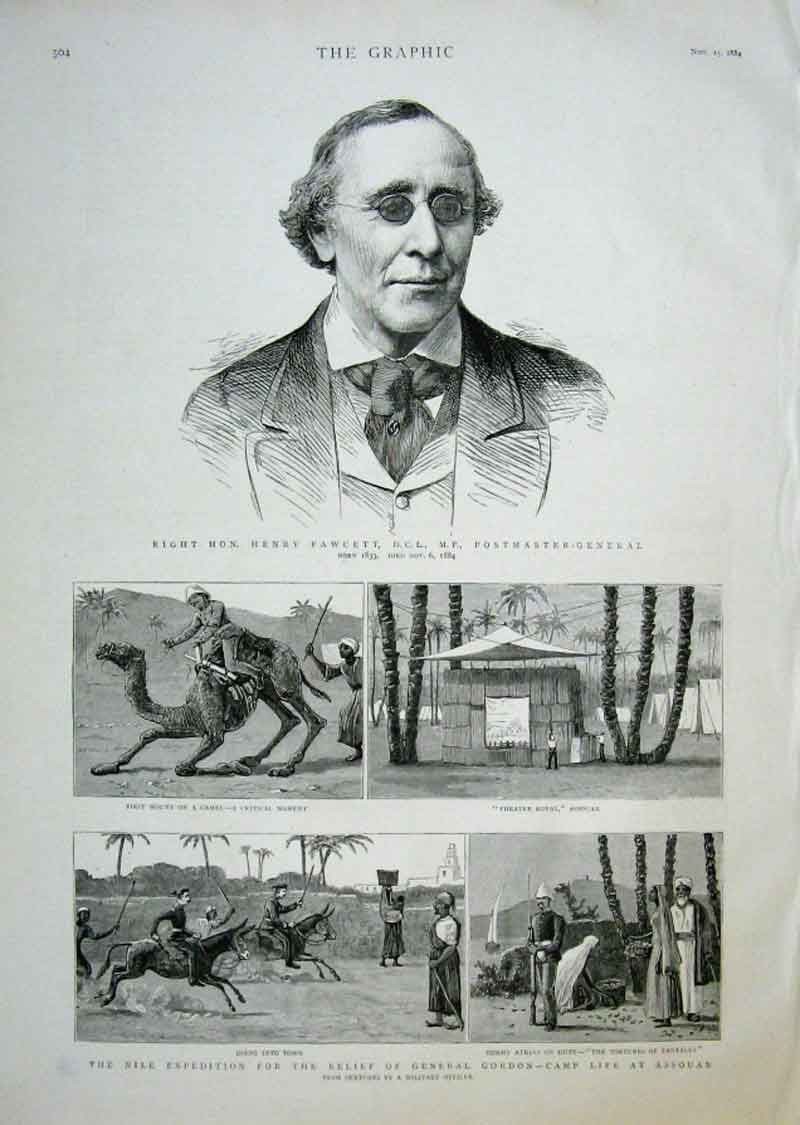 Print Henry Fawcett Post Master General 1884 04Bbb1 Old Original