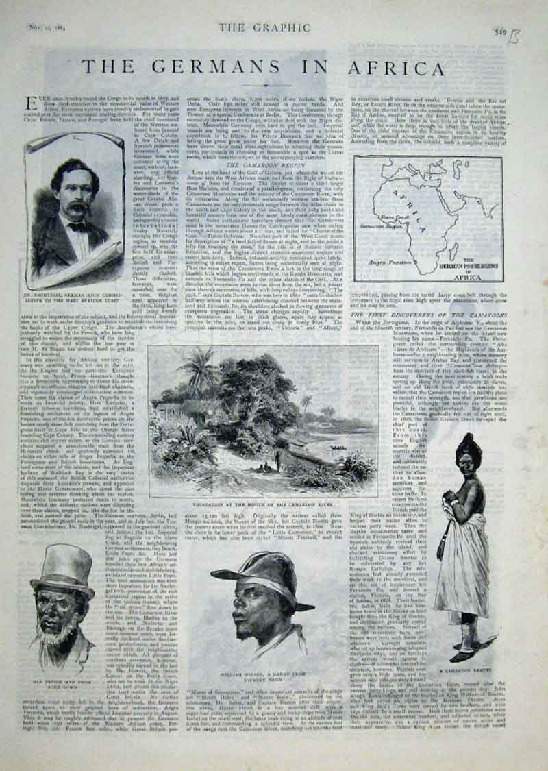 Print The Germans In Africa 1884 49Abbb1 Old Original