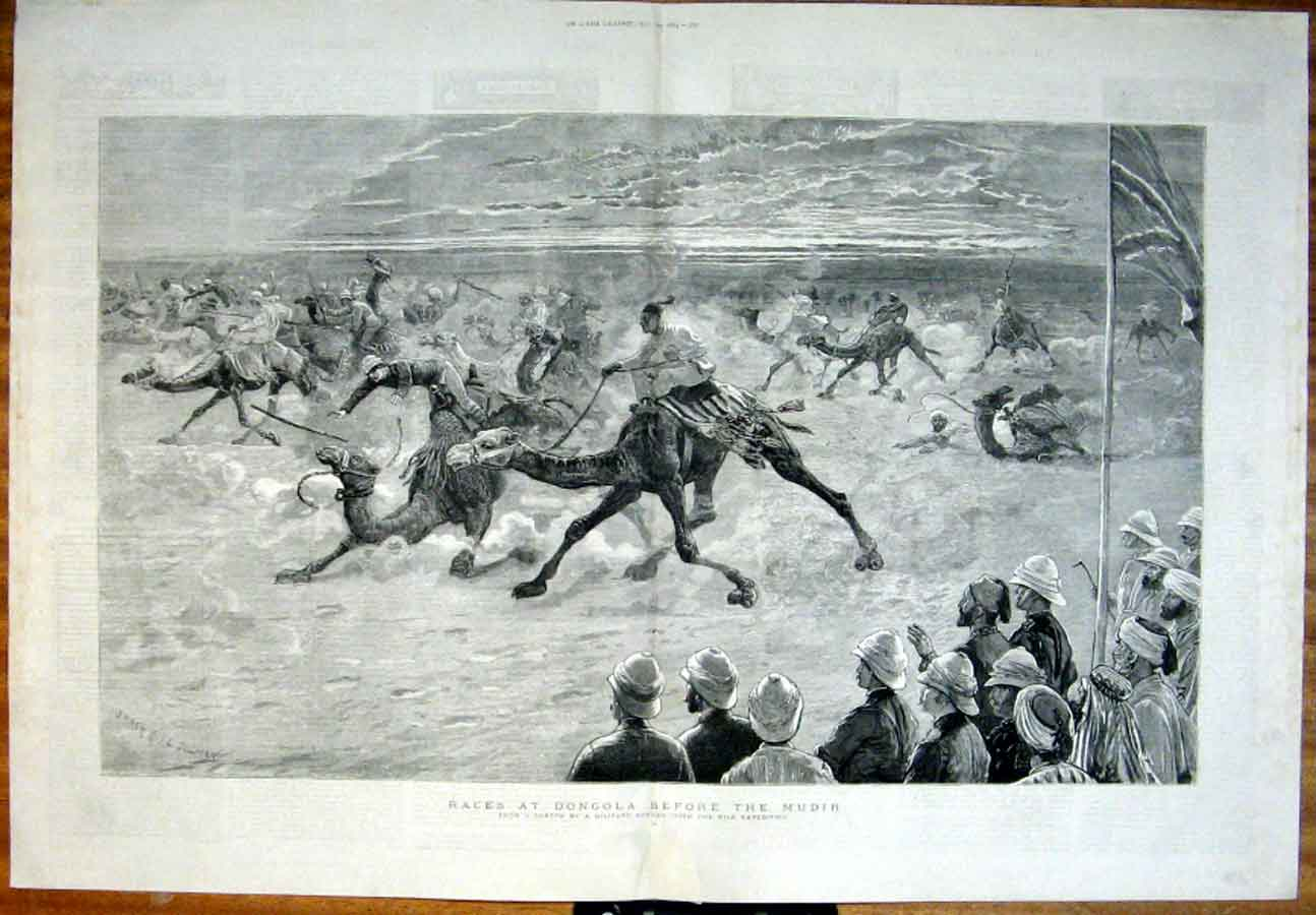 Print Camel Races At Dongola Before Mudir 1884 Egypt 67Tbbb1 Old Original