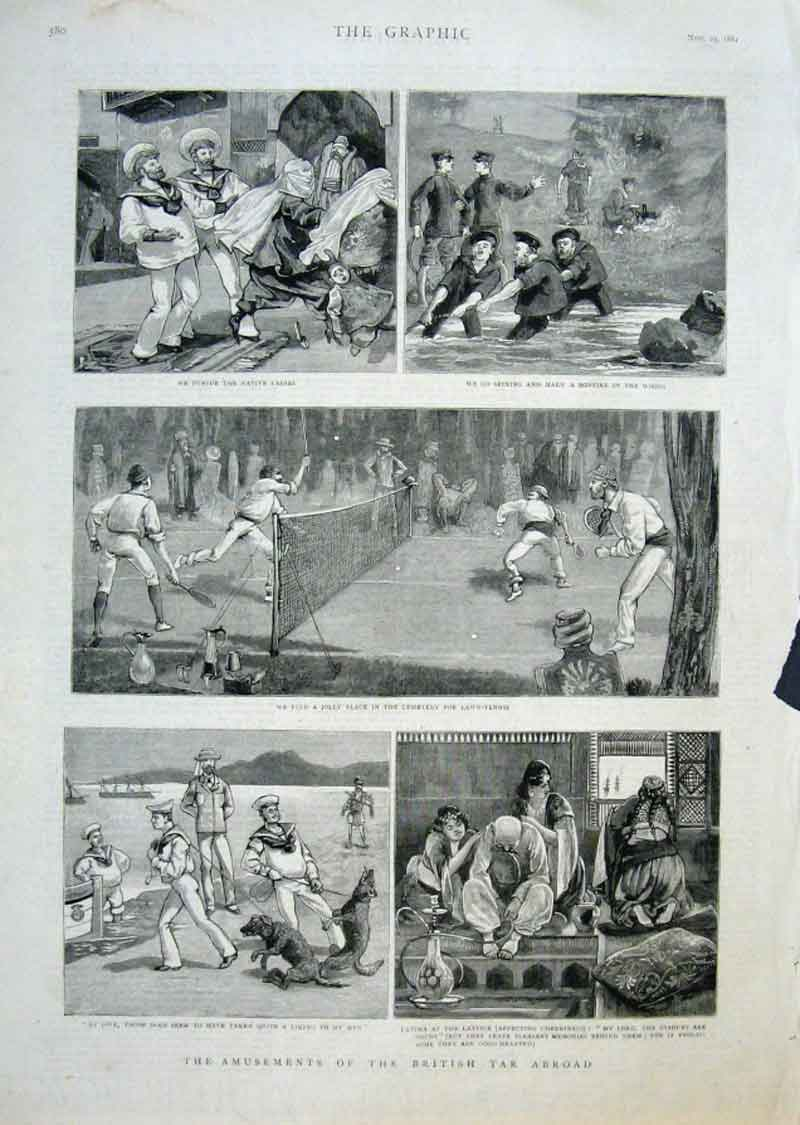 Print Amusements British Sailor Abroad 1884 80Bbb1 Old Original