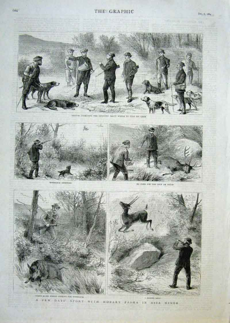 Print Days Hunting With Hobart Pashain Asia Minor 1884 04Bbb1 Old Original
