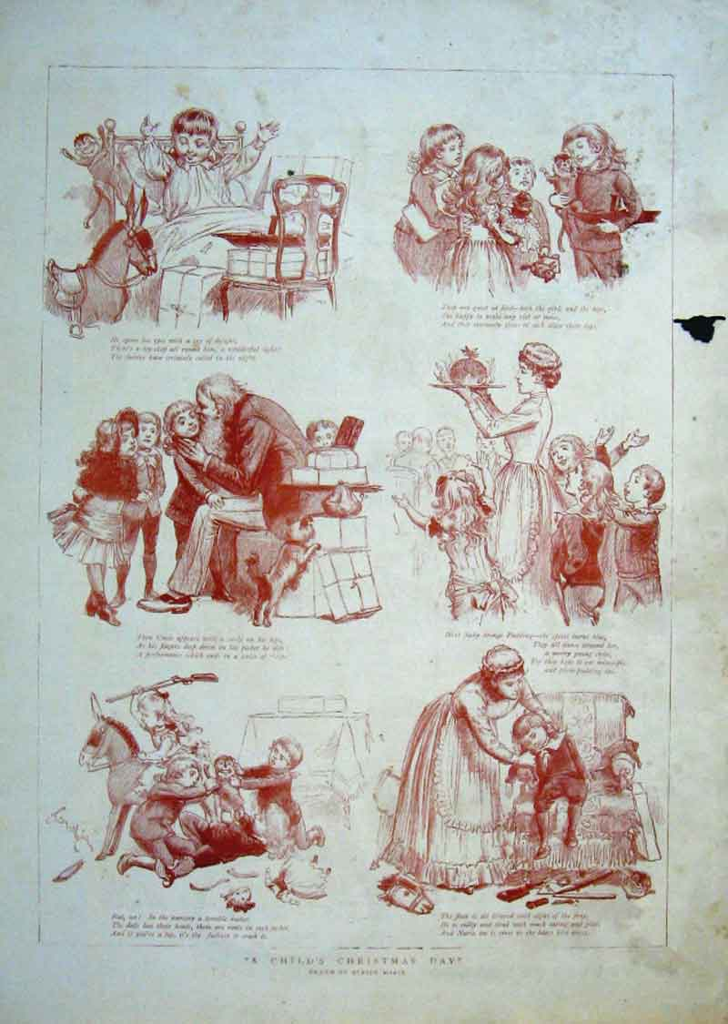 Print A Child'S Christmas Day 1884 79Bbb1 Old Original