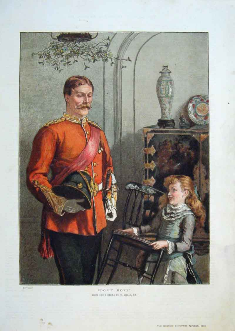 Print Dont Move Fine Art 1884 Soldier & Girl 87Bbb1 Old Original