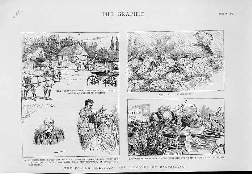 Print Humours Canvassing 1892 Politics 04Ubbb1 Old Original