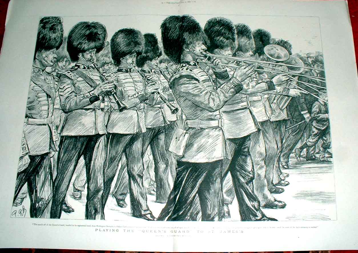 Print Playing The Queens Guard To St James'S 1892 13Tbbb1 Old Original