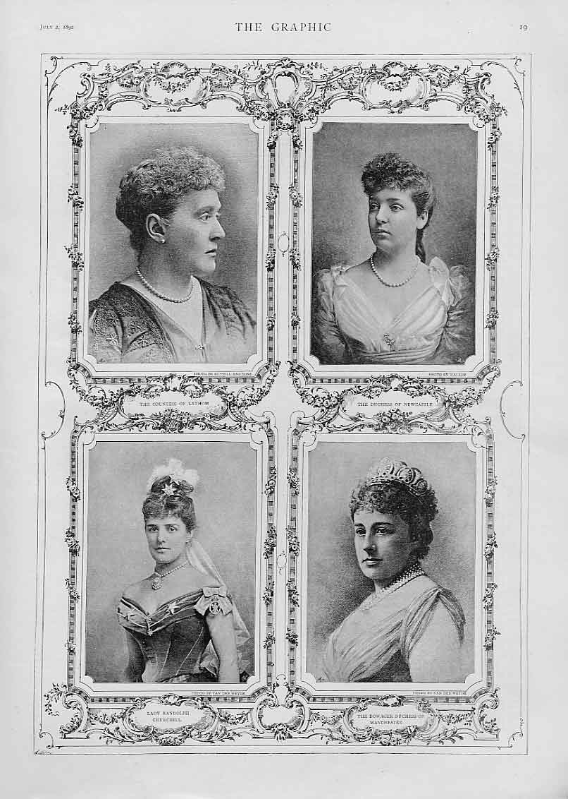 Print Lady'S Lathom Newcastle Churchill & Manchester 1892 19Bbb1 Old Original