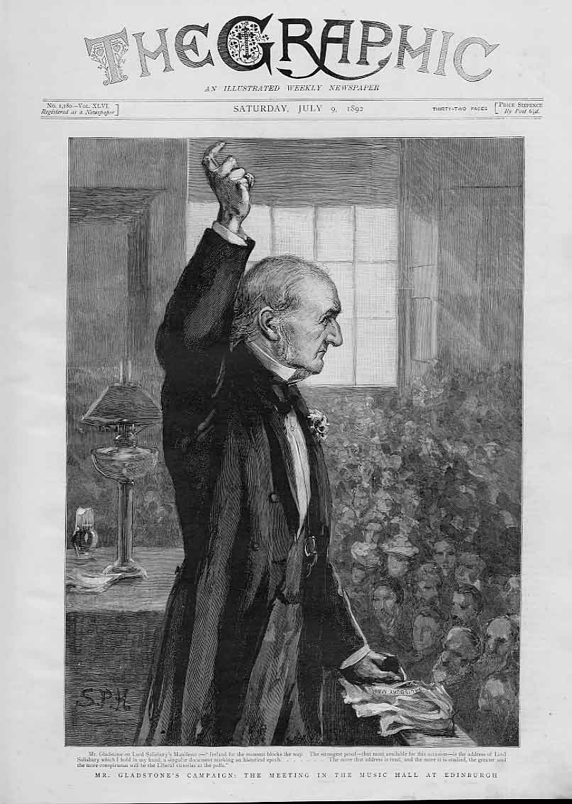 Print Gladstone In Music Hall Edinburgh 1892 Election 30Bbb1 Old Original