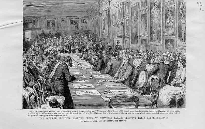Print Scotish Peers Electing Their Representatives 1892 96Lbbb1 Old Original