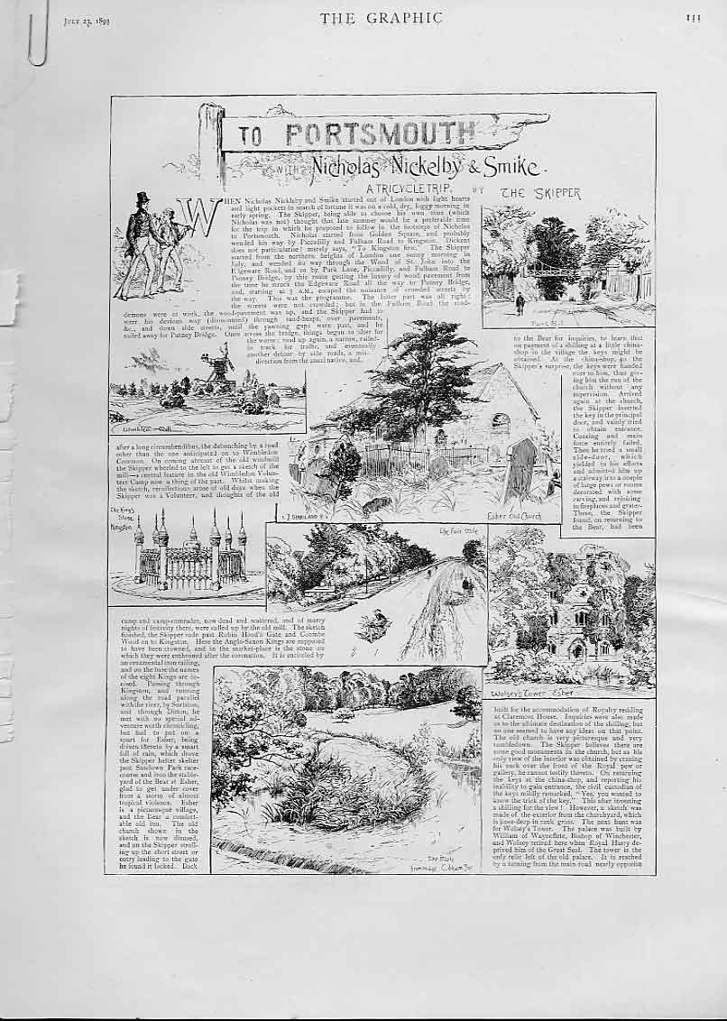 [Print Tricycle Trip To Portsmouth 1892 11Abbb1 Old Original]