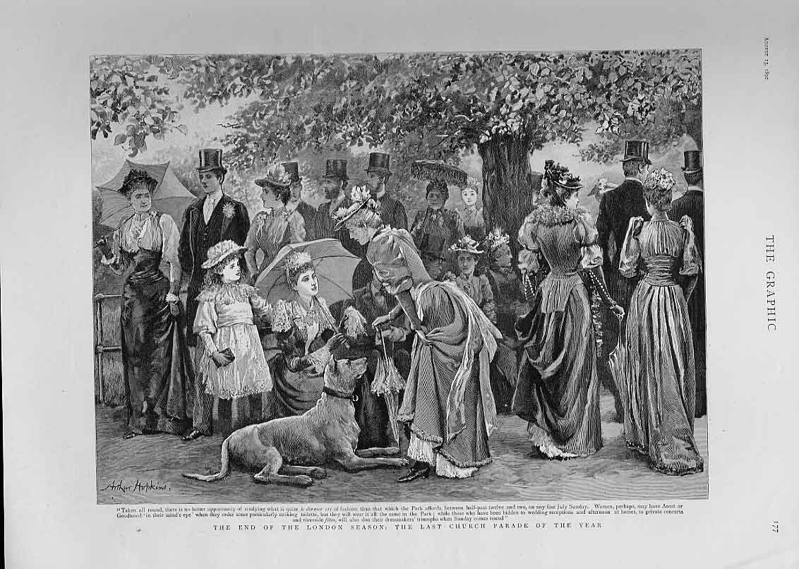 [Print Last Church Parade End London Season In Park 77Bbb1 Old Original]
