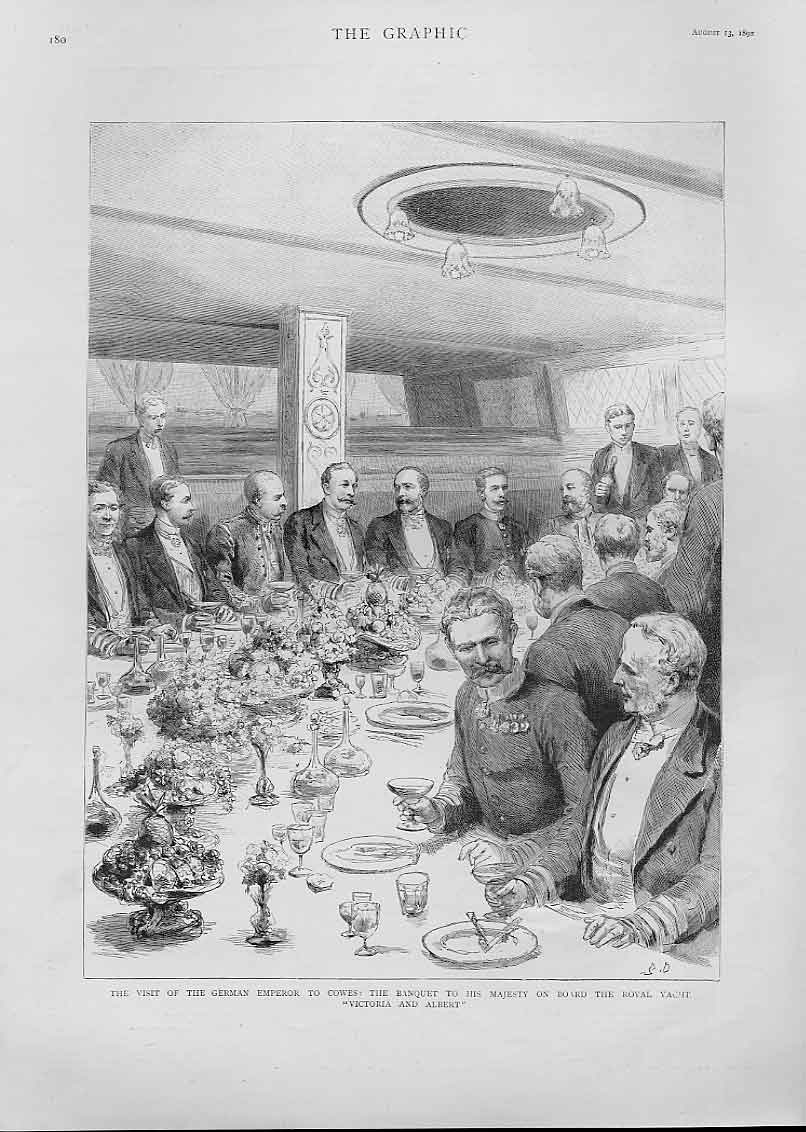 Print German Emperor Dines Royal Yacht Victoria Albert 1892 80Bbb1 Old Original