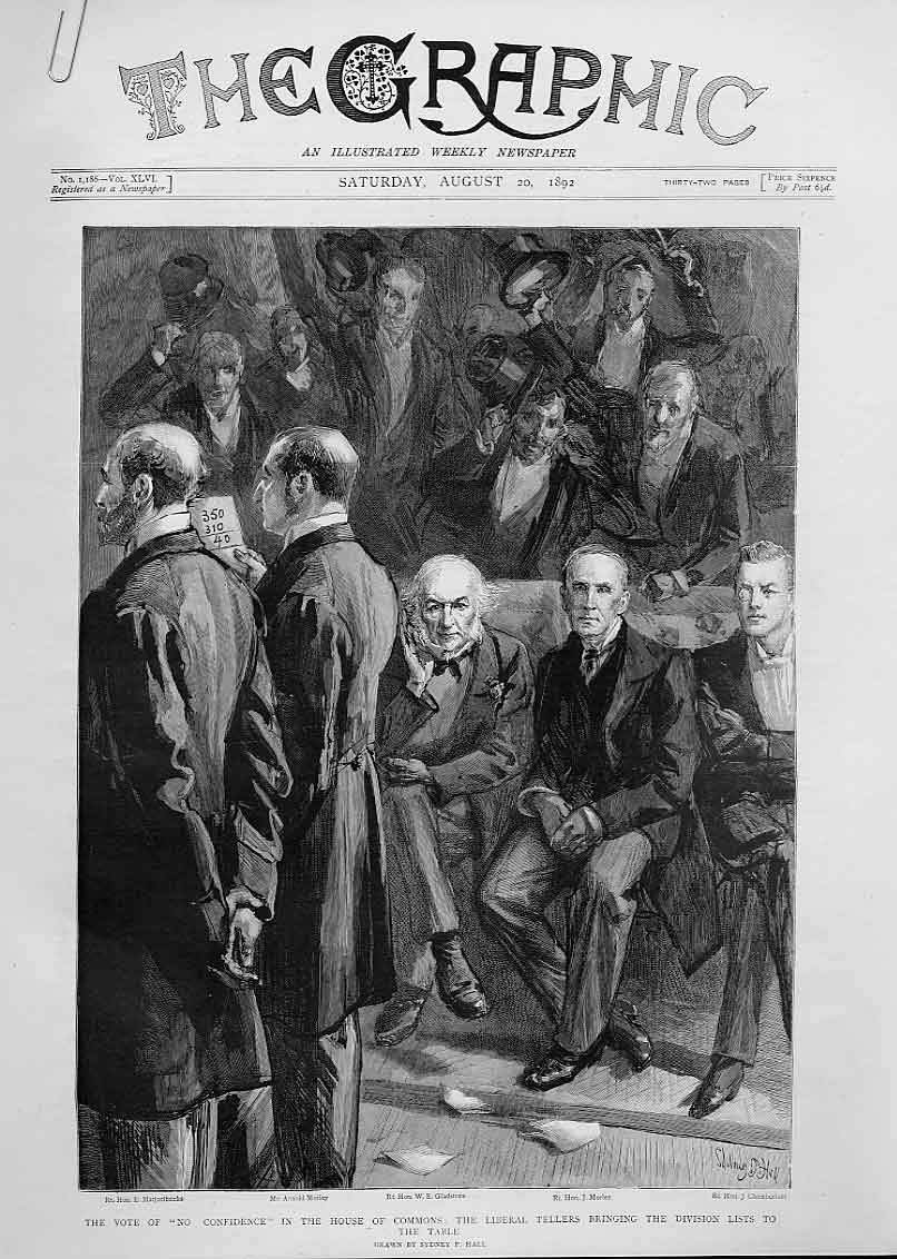 Print Vote No Confidence Liberal Tellers At Table 1892 06Abbb1 Old Original