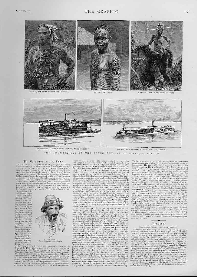 [Print Life Up River Congo Station 1892 Africa 27Bbb1 Old Original]