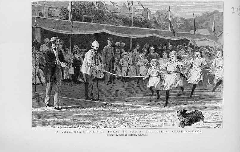 Print Girls Skipping Race 1892 India Holiday Treat 48Lbbb1 Old Original