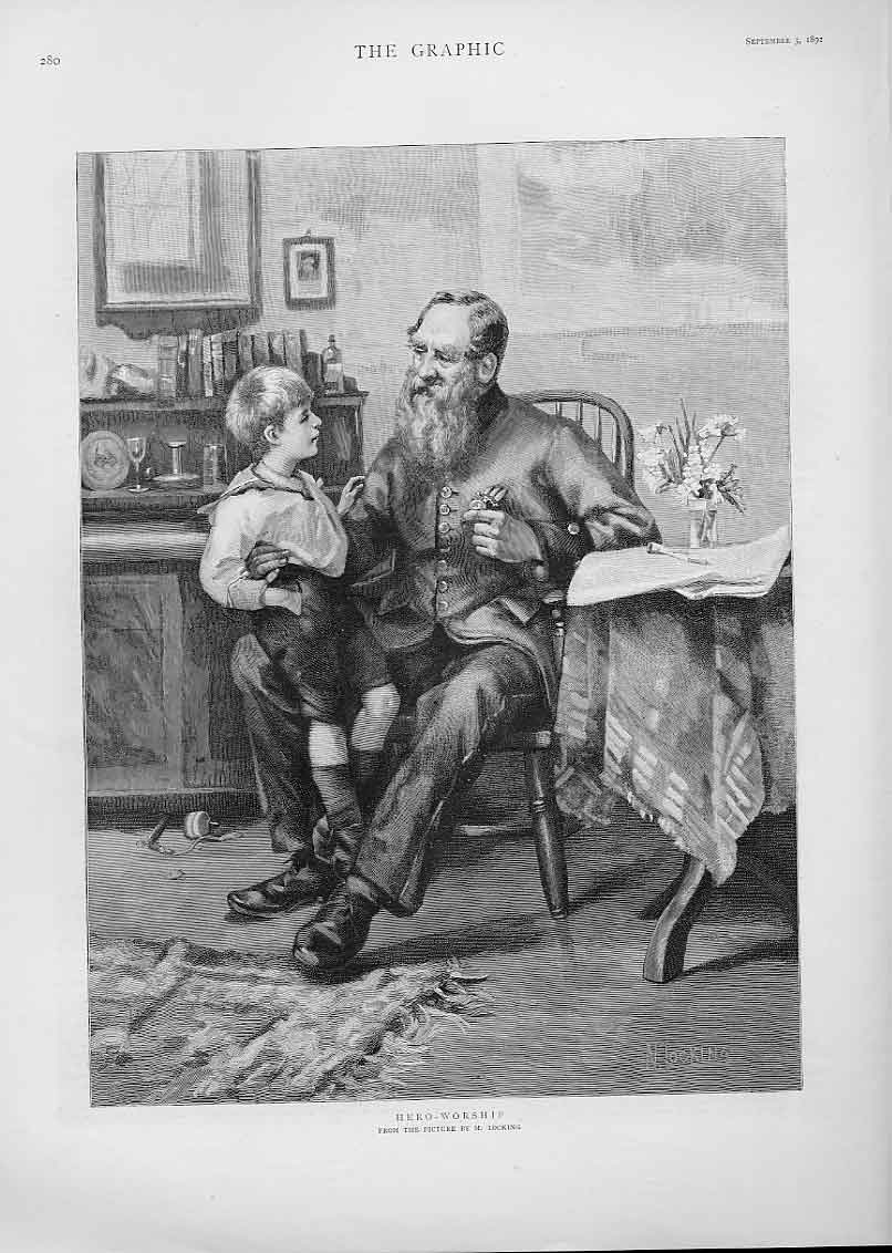 Print Hero Worship By Locking Fine Art 1892 80Bbb1 Old Original