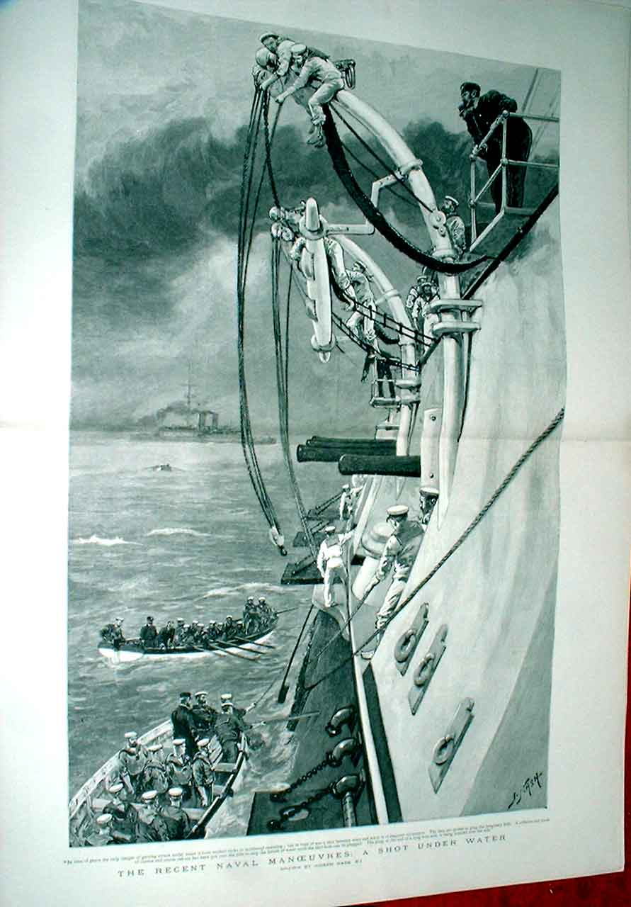 Print Shot Under Water By Nash Fine Art 1892 Ships 83Tbbb1 Old Original