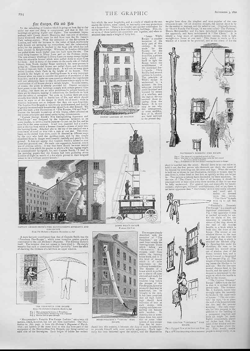 Print Fire Escapes & New 1892 Health & Safety 94Bbb1 Old Original