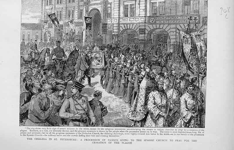 Print Spasski Church St Petersburg Cholera Procession 1892 08Lbbb1 Old Original