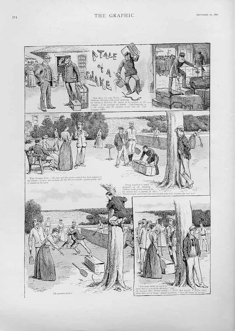 Print A Tale The Snake 1892 Humour 24Bbb1 Old Original