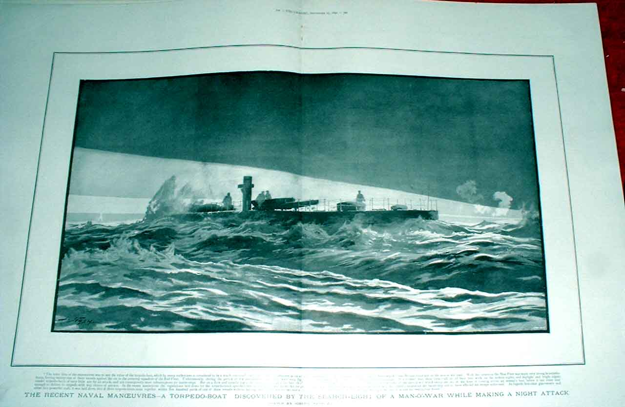 Print Searchlight Discovers Torpedo Boat By Nash 1892 Ships 43Tbbb1 Old Original