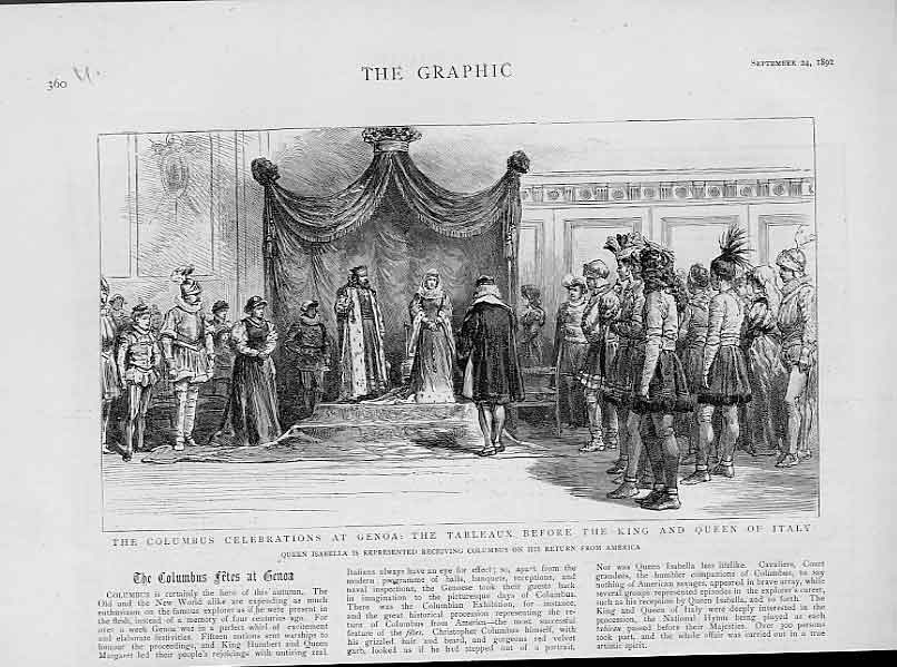 Print Columbus Celebration At Genoa Before King Italy 1892 60Ubbb1 Old Original