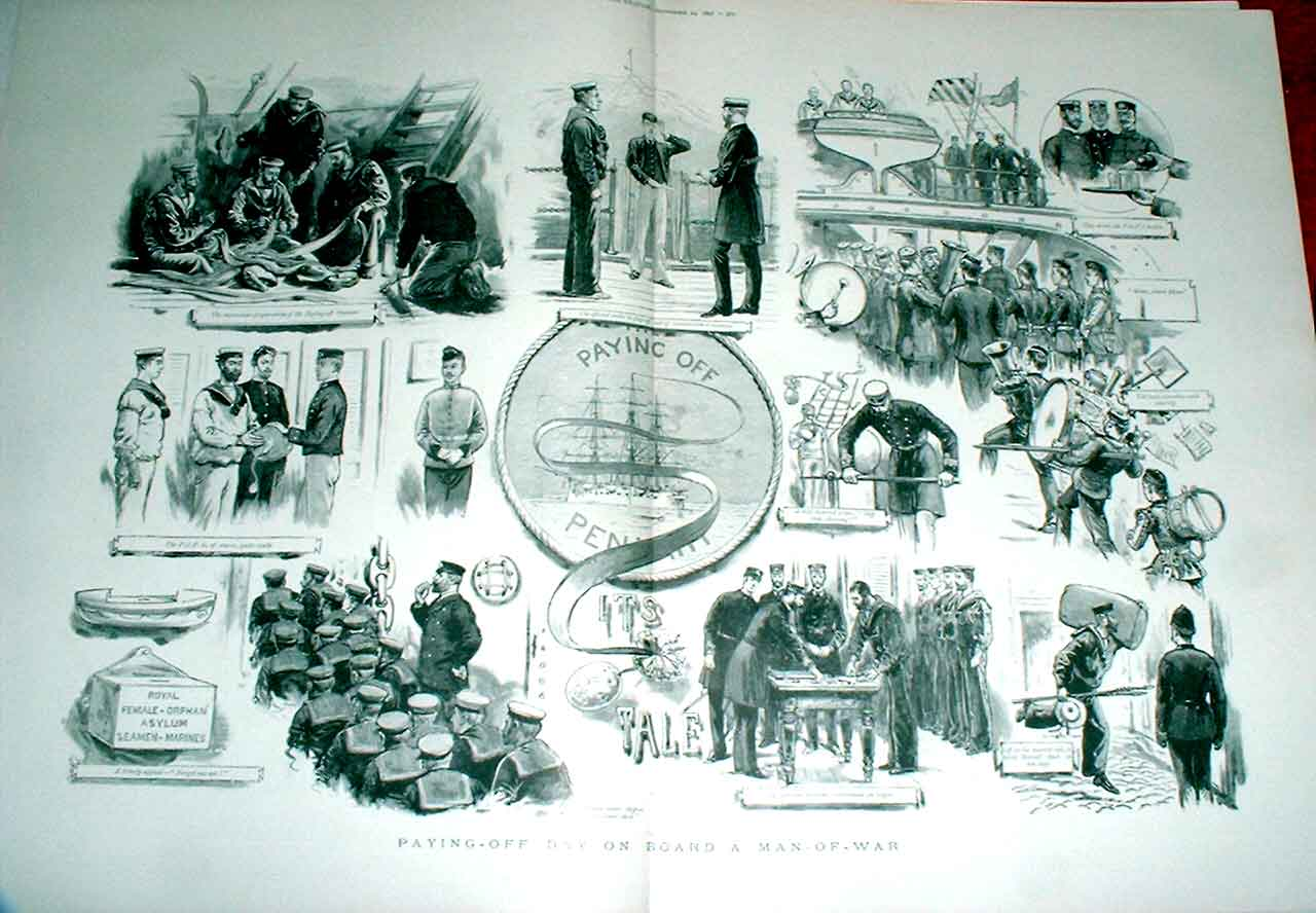 Print Paying Off Day 1892 Man War Fine Art Ships 71Tbbb1 Old Original