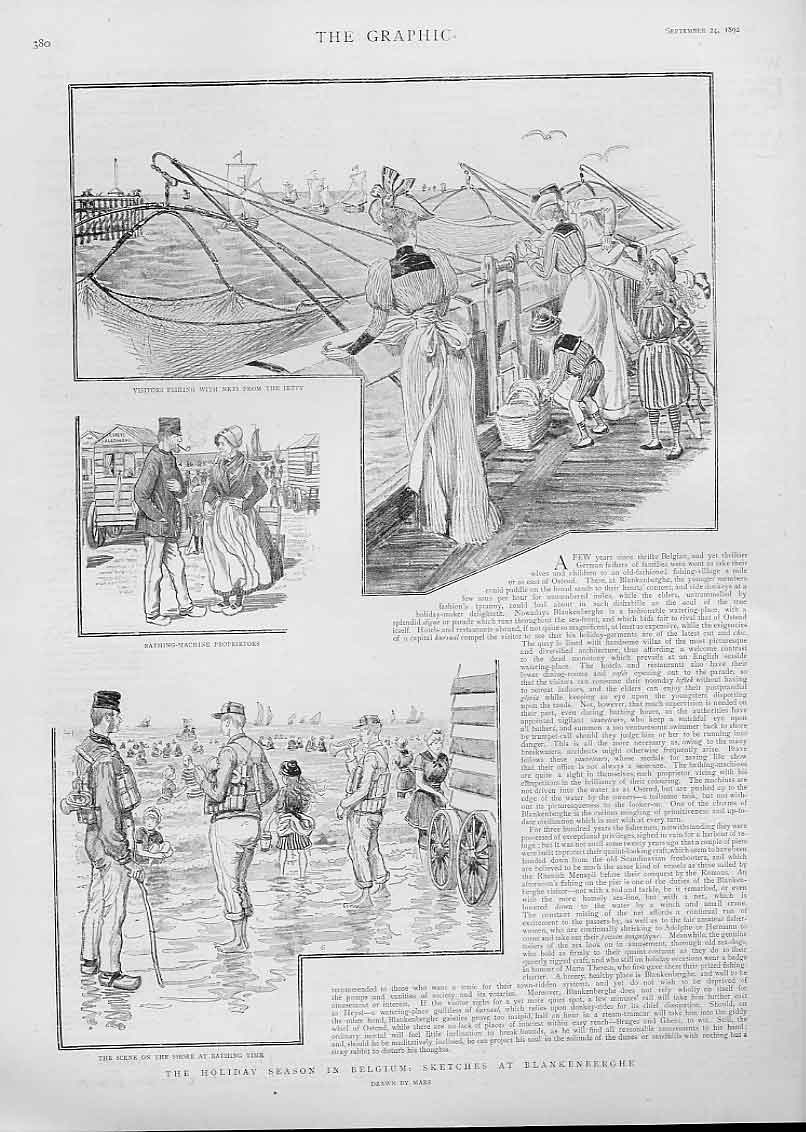 Print Holiday At Blankenberghe Belgium 1892 Sea Si 80Bbb1 Old Original