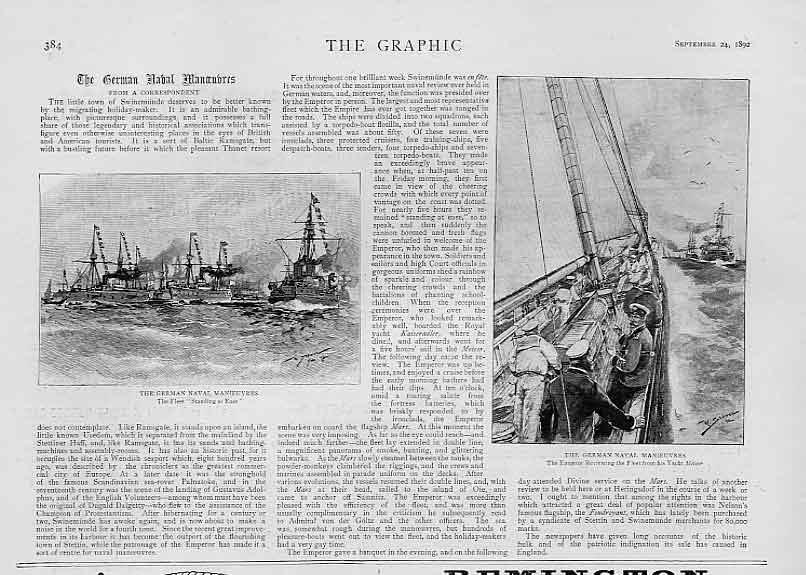 Print German Naval Manoeuvres 1892 Ships 84Bbb1 Old Original