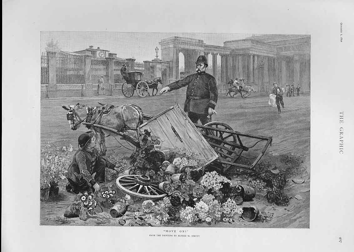 Print Move On Says Policeman To Market Trader 1892 07Bbb1 Old Original