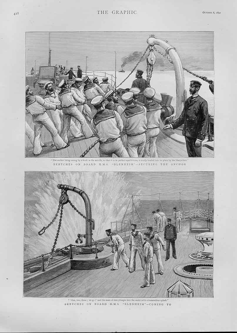Print On Board Hms Blenhiem Ships 1892 28Bbb1 Old Original
