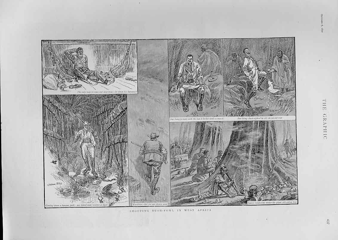 Print Shooting Bush Fowl West Africa 1892 37Bbb1 Old Original