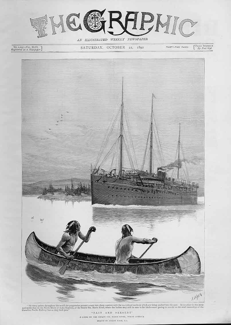 Print Ships Past & Present On Saulte St Marie River N America 78Bbb1 Old Original