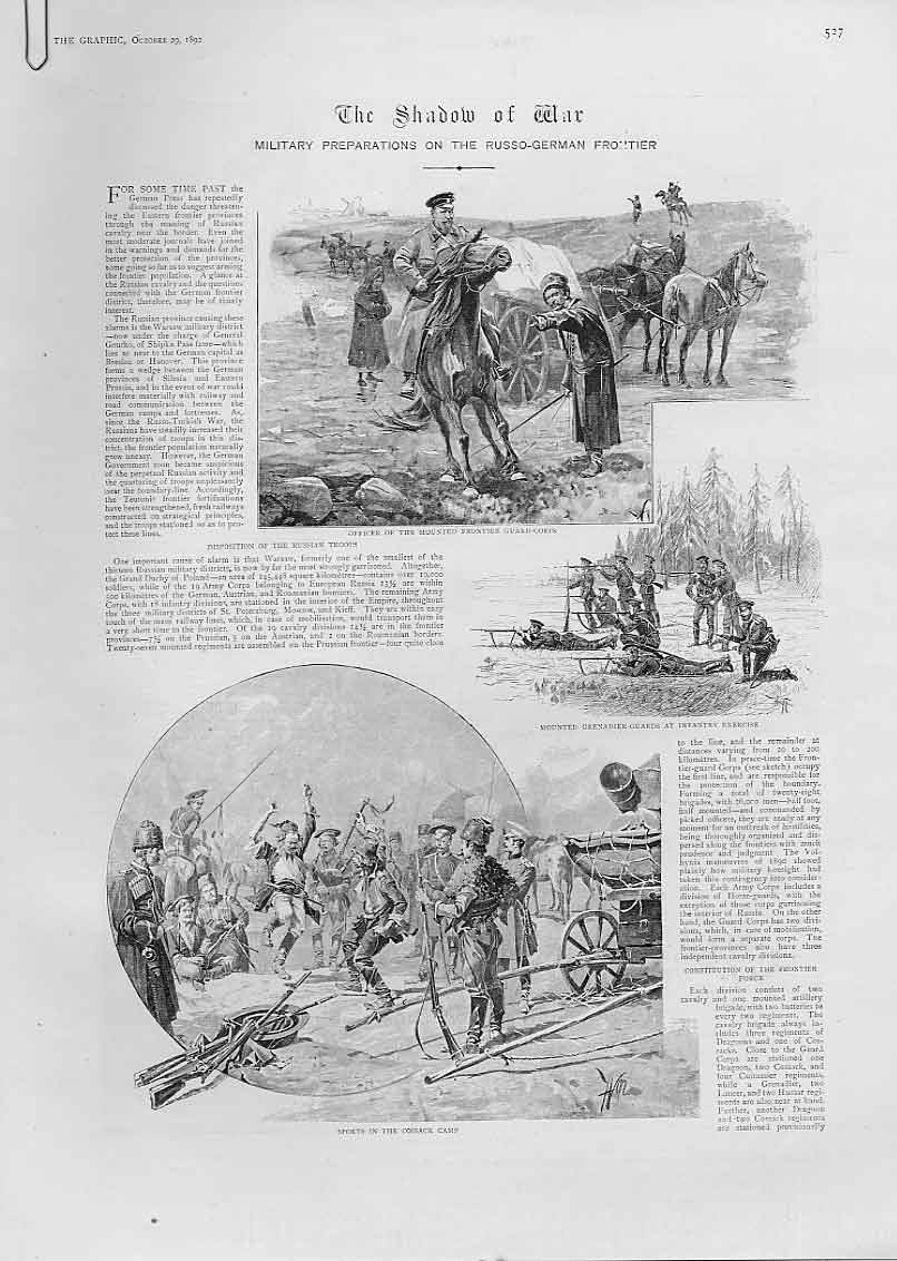 Print Shadow War Russian German Frontier 1892 27Abbb1 Old Original