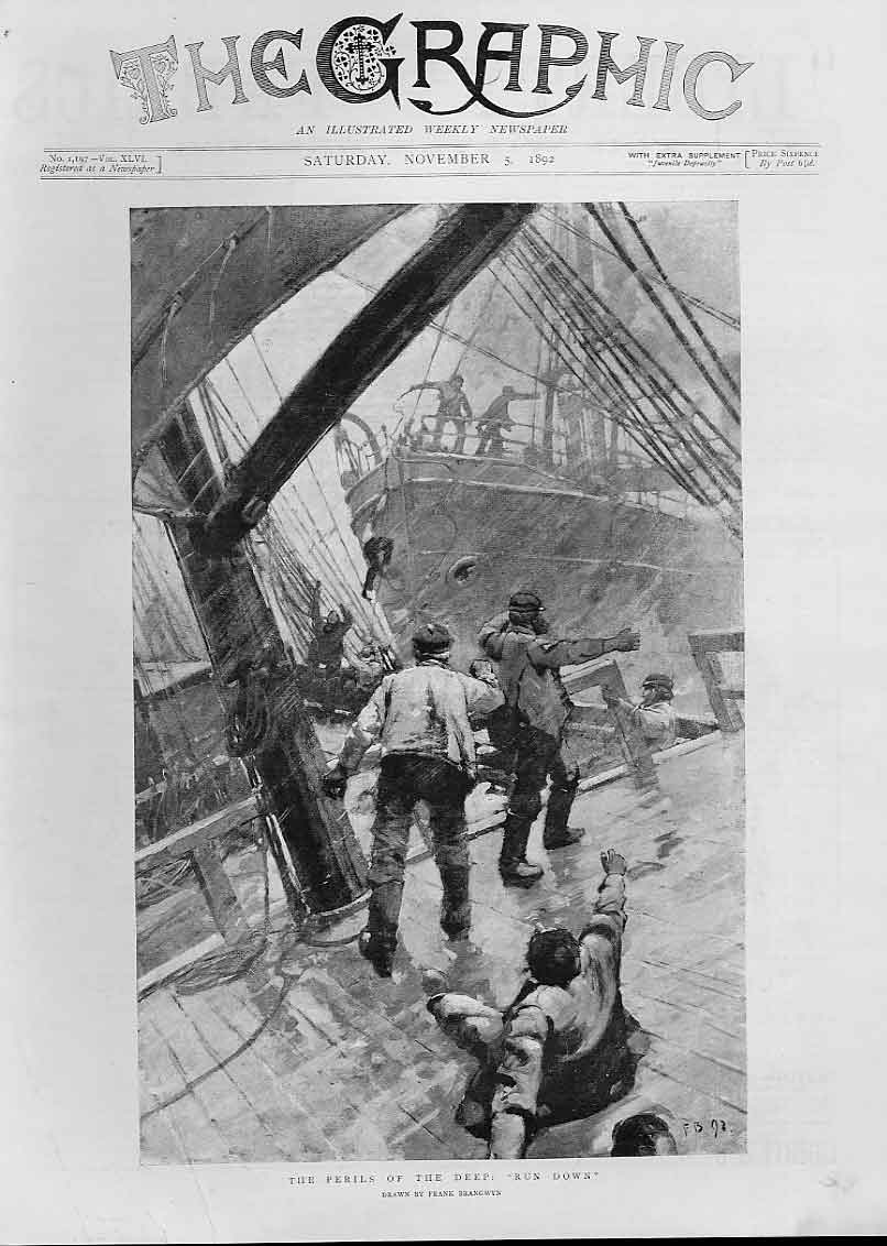 Print Run Down By Another Ship 1892 Perils 42Bbb1 Old Original