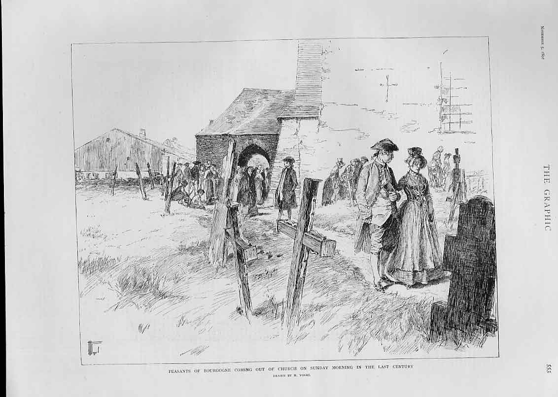 Print Bourgogne Peasants Leave Church Sunday Morning 53Bbb1 Old Original