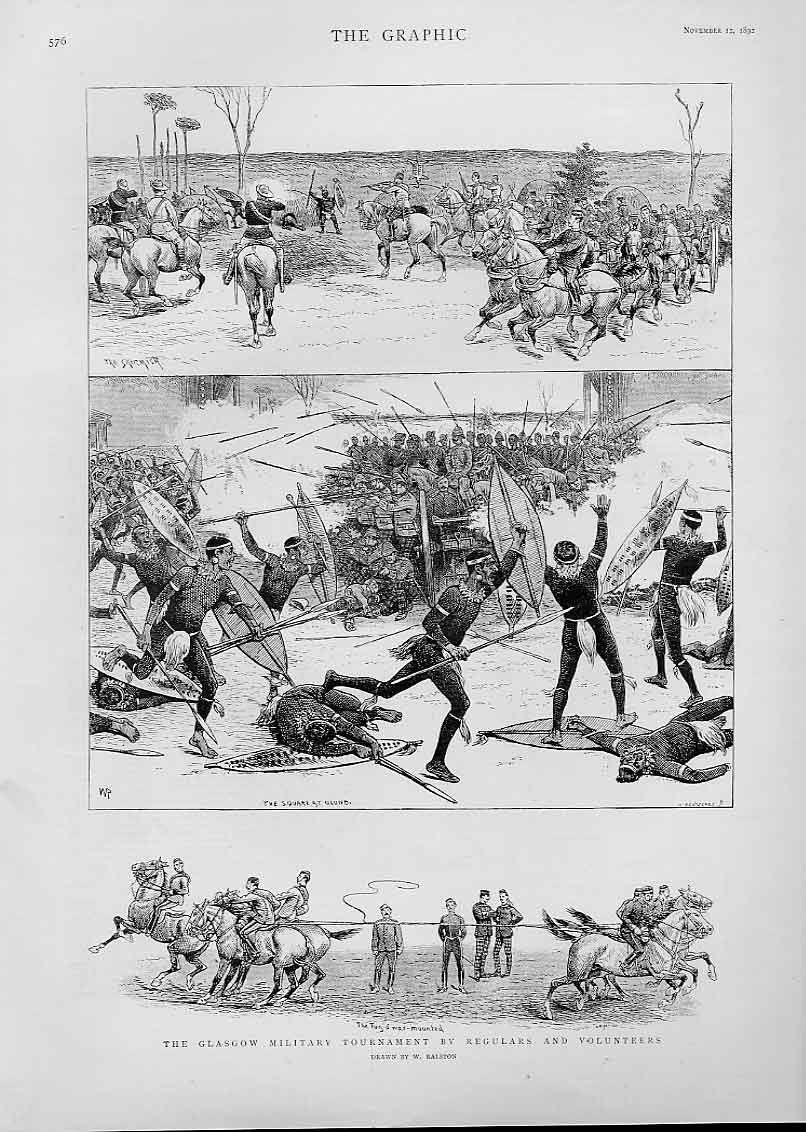 Print Glasgow Military Tournament 1892 Is It Scotland ? 76Bbb1 Old Original