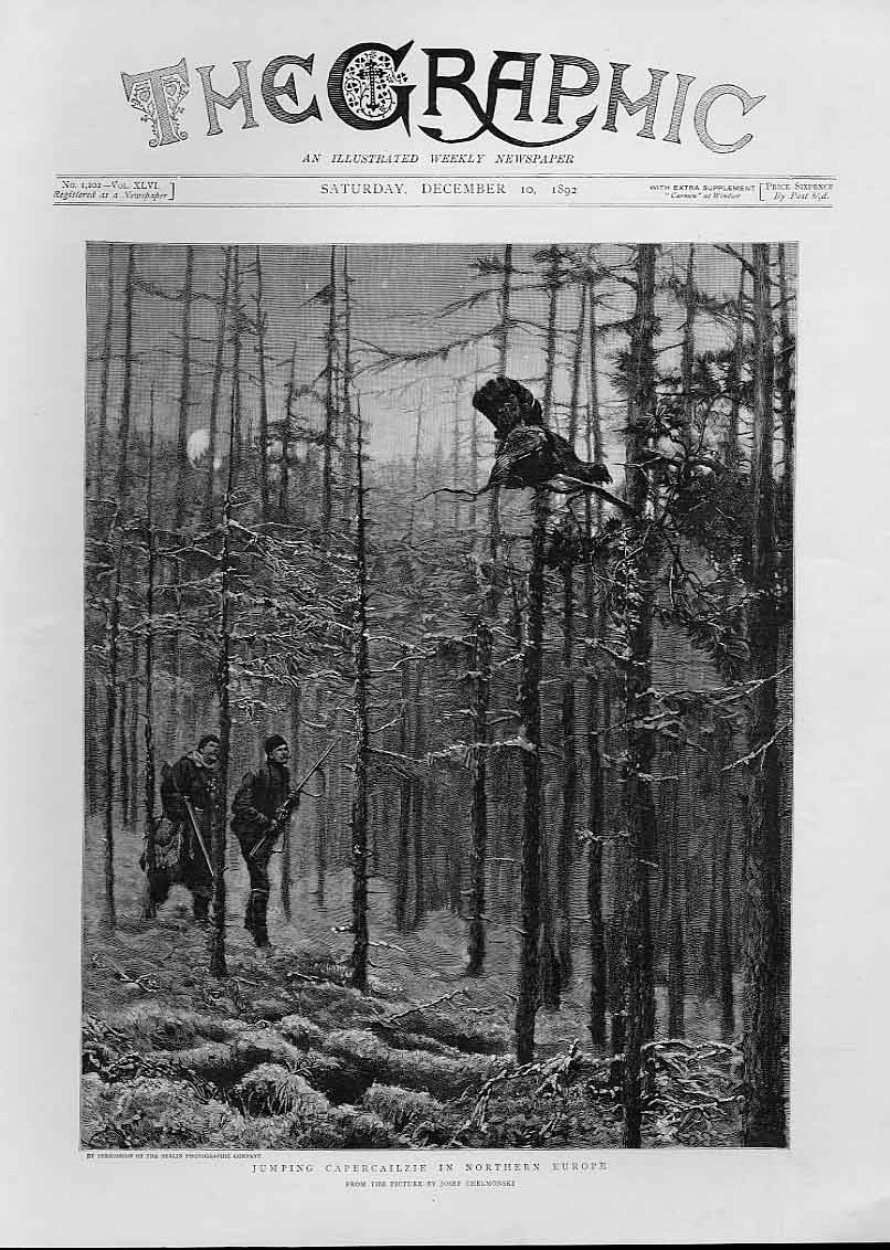 Print Jumping Capercailzie Hunting Europe 1892 Bird 94Bbb1 Old Original