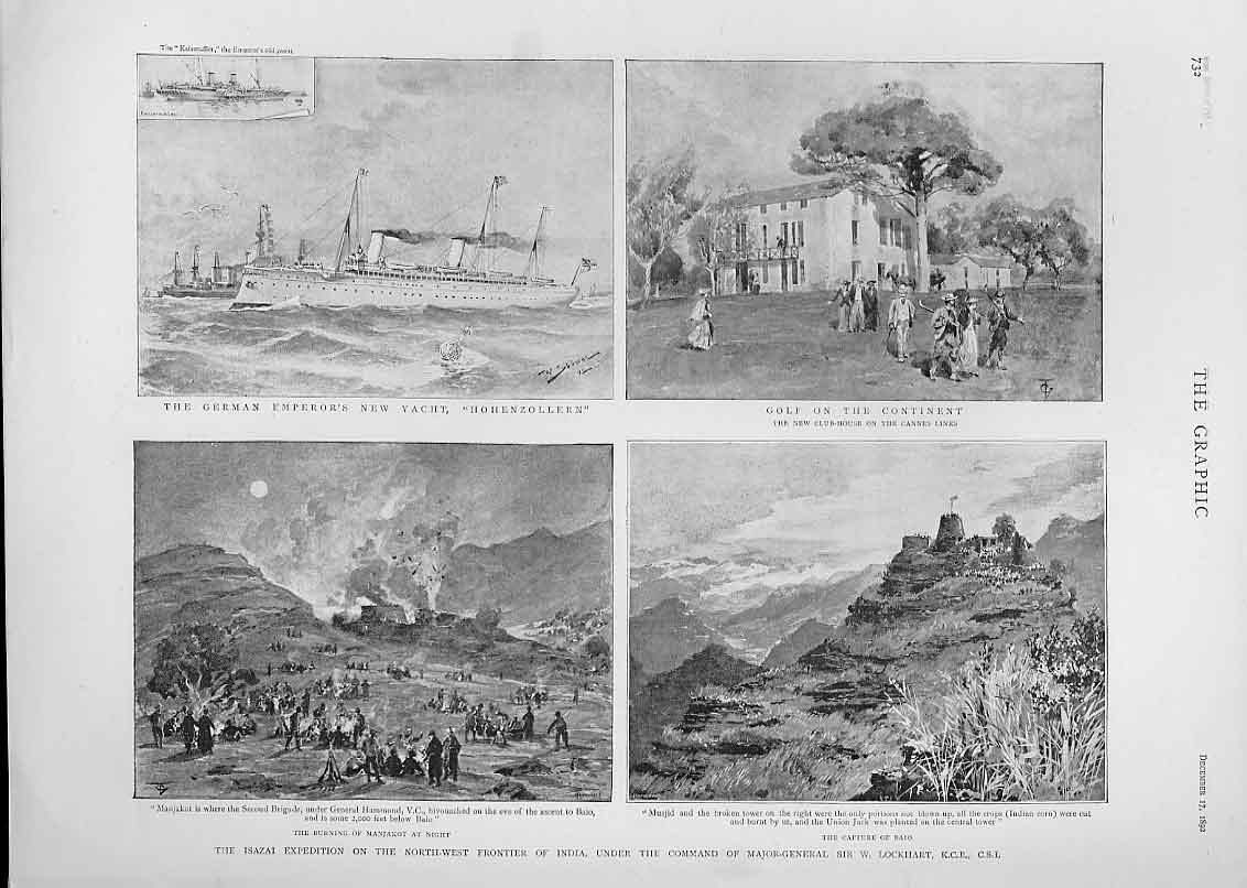 Print Golf 1892 Yacht Hohenzollern Isazai Expedition India 32Bbb1 Old Original
