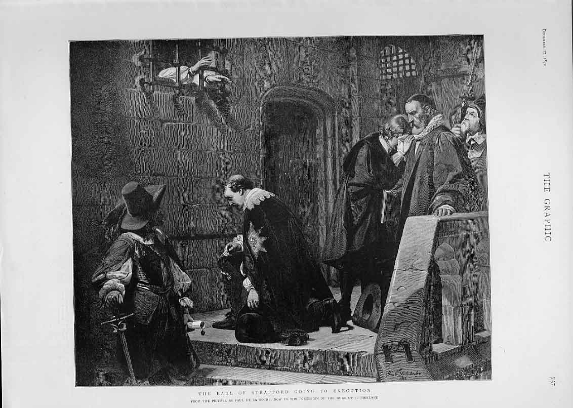Print Earl Stafford Going To Execution By De La Roche 37Bbb1 Old Original